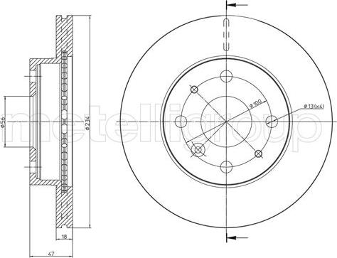 Metelli 23-1165 - Bremžu diski interparts.lv