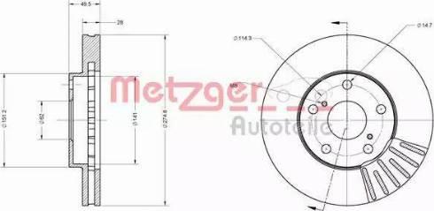 Metzger 6110624 - Bremžu diski interparts.lv