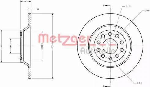 Metzger 6110136 - Bremžu diski interparts.lv
