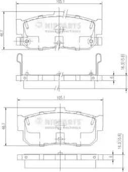 Nipparts J3611034 - Bremžu uzliku kompl., Disku bremzes interparts.lv