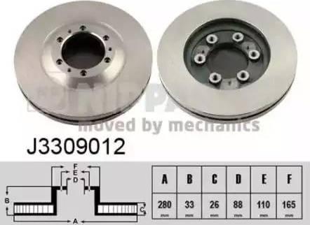 Nipparts J3309012 - Bremžu diski interparts.lv