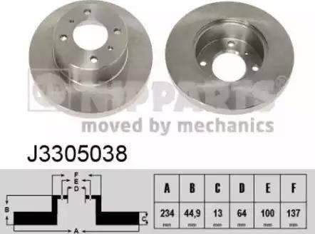 Nipparts J3305038 - Bremžu diski interparts.lv