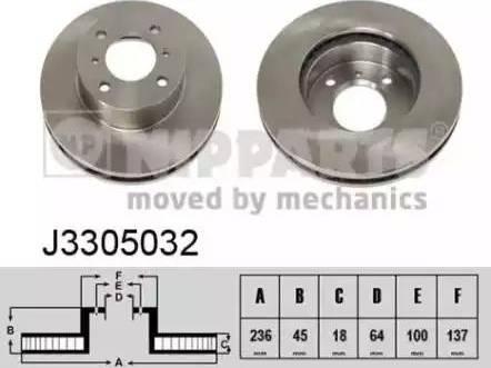 Nipparts J3305032 - Bremžu diski interparts.lv