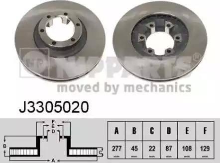 Nipparts J3305020 - Bremžu diski interparts.lv