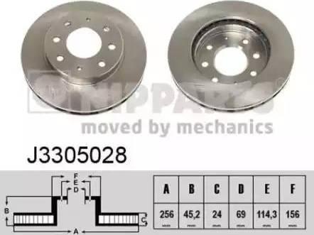 Nipparts J3305028 - Bremžu diski interparts.lv