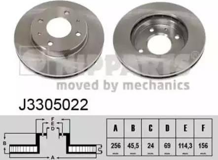 Nipparts J3305022 - Bremžu diski interparts.lv