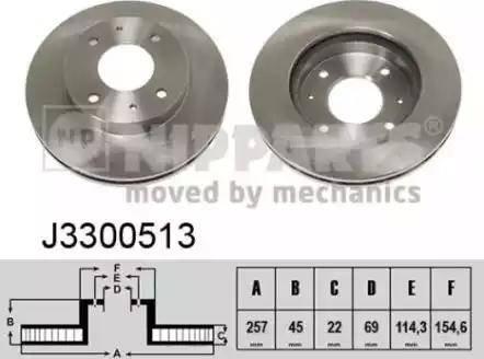 Nipparts J3300513 - Bremžu diski interparts.lv