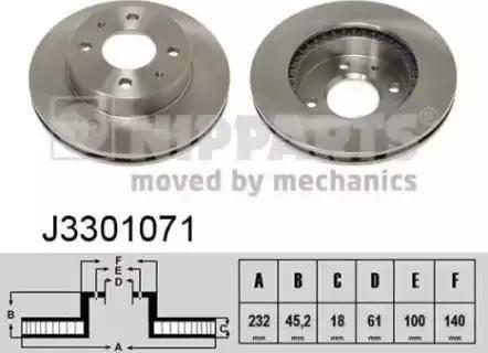Nipparts J3301071 - Bremžu diski interparts.lv