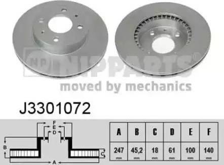 Nipparts J3301072 - Bremžu diski interparts.lv
