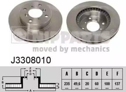 Nipparts J3308010 - Bremžu diski interparts.lv