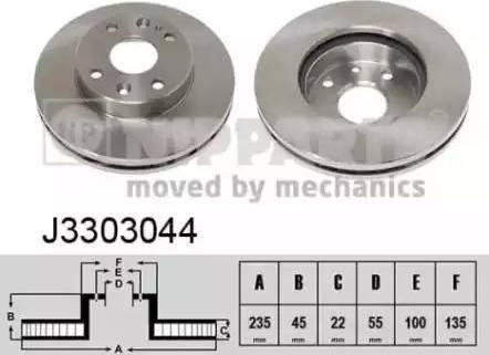 Nipparts J3303044 - Bremžu diski interparts.lv