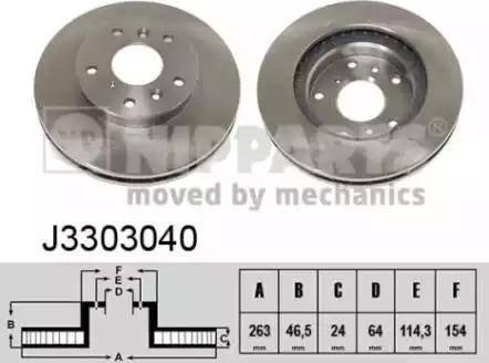 Nipparts J3303040 - Bremžu diski interparts.lv