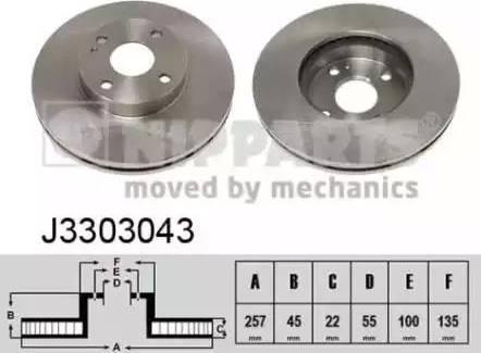 Nipparts J3303043 - Bremžu diski interparts.lv