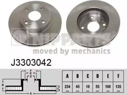 Nipparts J3303042 - Bremžu diski interparts.lv