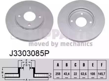 Nipparts J3303085P - Bremžu diski interparts.lv