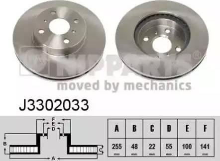 Nipparts J3302033 - Bremžu diski interparts.lv