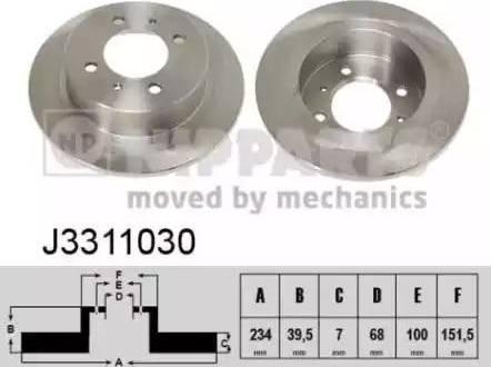 Nipparts J3311030 - Bremžu diski interparts.lv