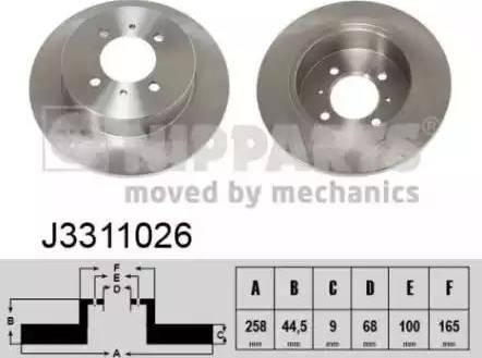Nipparts J3311026 - Bremžu diski interparts.lv