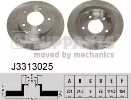 Nipparts J3313025 - Bremžu diski interparts.lv