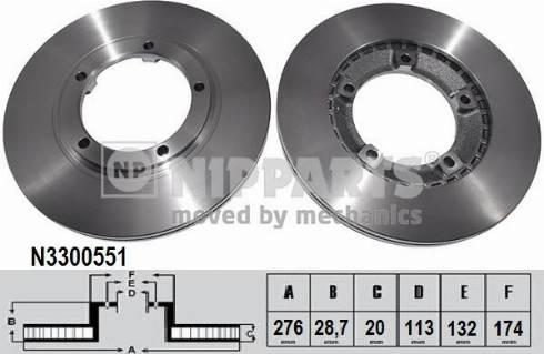 Nipparts N3300551 - Bremžu diski interparts.lv