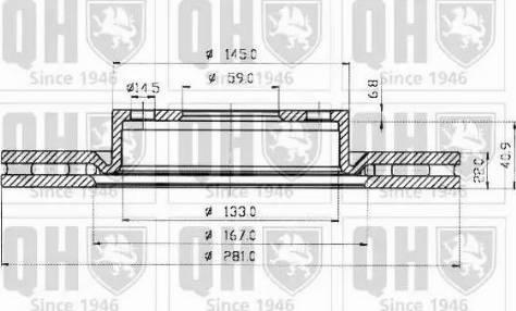 Quinton Hazell BDC4500 - Bremžu diski interparts.lv