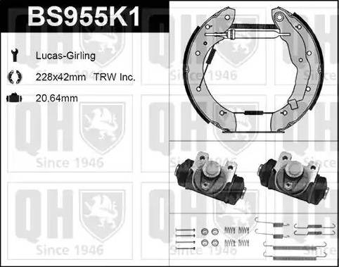 Quinton Hazell BS955K1 - Bremžu komplekts, trumuļa bremzes interparts.lv