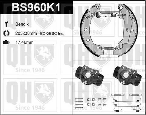 Quinton Hazell BS960K1 - Bremžu komplekts, trumuļa bremzes interparts.lv