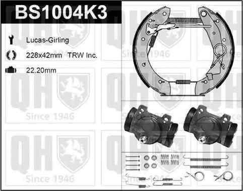 Quinton Hazell BS1004K3 - Bremžu komplekts, trumuļa bremzes interparts.lv