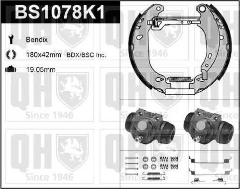 Quinton Hazell BS1078K1 - Bremžu komplekts, trumuļa bremzes interparts.lv