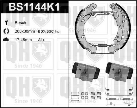 Quinton Hazell BS1144K1 - Bremžu komplekts, trumuļa bremzes interparts.lv