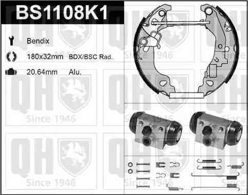 Quinton Hazell BS1108K1 - Bremžu komplekts, trumuļa bremzes interparts.lv