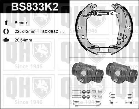 Quinton Hazell BS833K2 - Bremžu komplekts, trumuļa bremzes interparts.lv