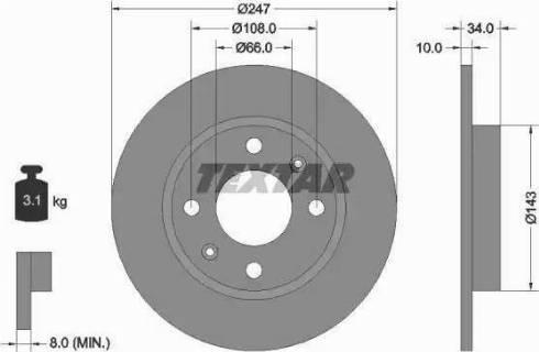 Textar 92029803 - Bremžu diski interparts.lv