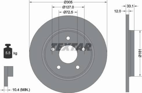 Textar 92181005 - Bremžu diski interparts.lv