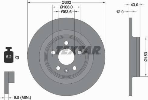 Textar 92295105 - Bremžu diski interparts.lv