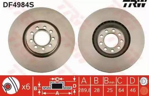 TRW DF4984S - Bremžu diski interparts.lv