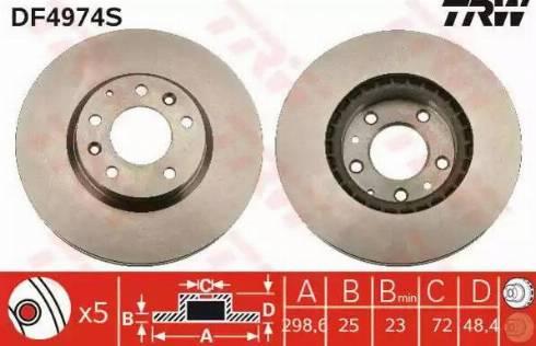 TRW DF4974S - Bremžu diski interparts.lv