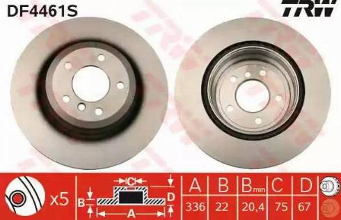 TRW DF4461S - Bremžu diski interparts.lv