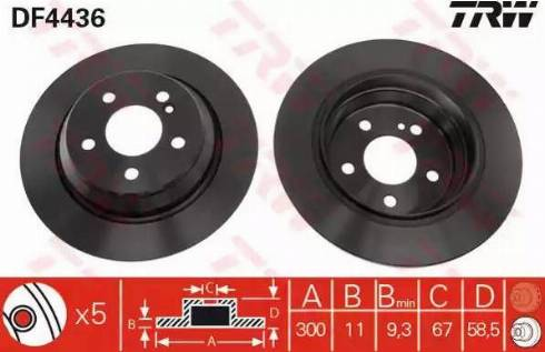 TRW DF4436 - Bremžu diski interparts.lv