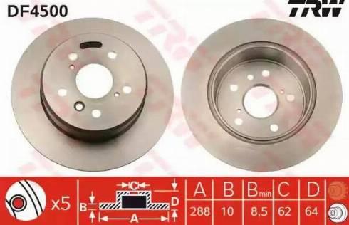 TRW DF4500 - Bremžu diski interparts.lv