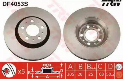 TRW DF4053S - Bremžu diski interparts.lv