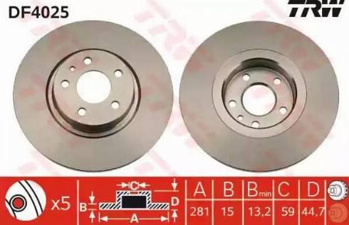 TRW DF4025 - Bremžu diski interparts.lv