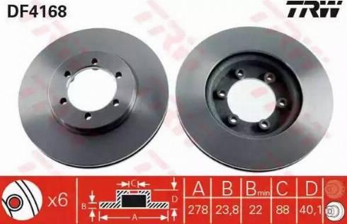 TRW DF4168 - Bremžu diski interparts.lv