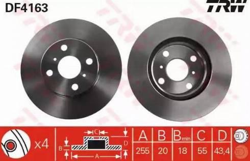 TRW DF4163 - Bremžu diski interparts.lv