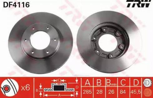 TRW DF4116 - Bremžu diski interparts.lv