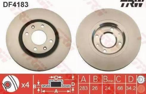 TRW DF4183 - Bremžu diski interparts.lv