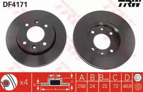 TRW DF4171 - Bremžu diski interparts.lv