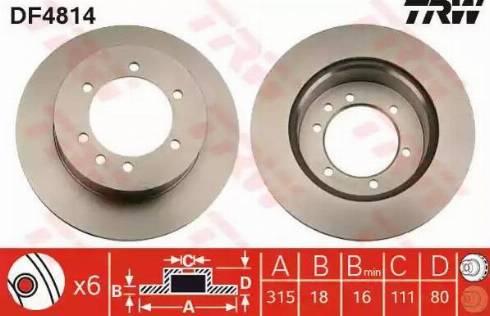 TRW DF4814 - Bremžu diski interparts.lv