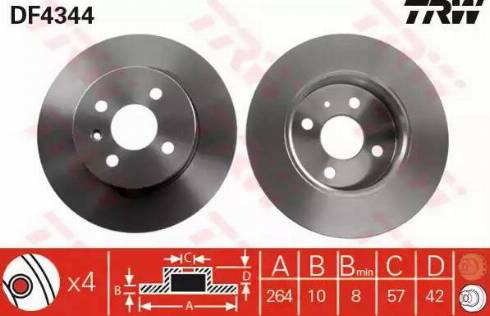 TRW DF4344 - Bremžu diski interparts.lv