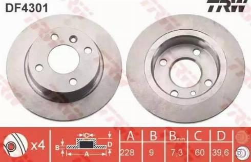 TRW DF4301 - Bremžu diski interparts.lv